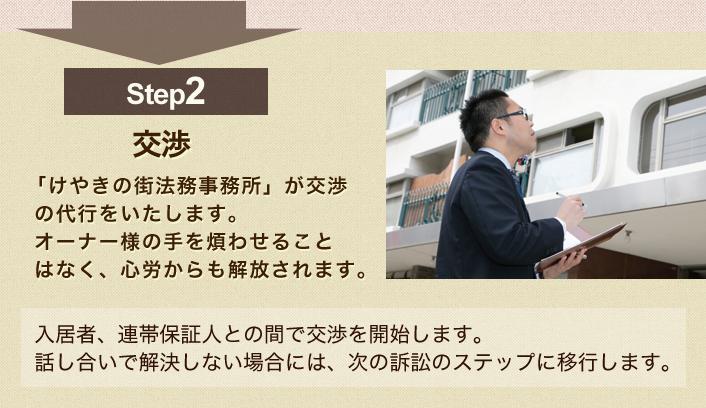 step2 交渉:「けやきの街法務事務所」が交渉  の代行をいたします。オーナー様の手を煩わせることはなく、心労からも解放されます。